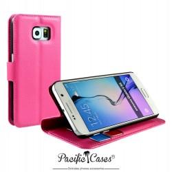étui pour Samsung S6 rose fushia folio et fonction stand