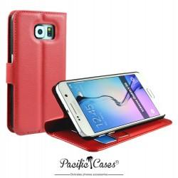 étui pour Samsung S6 rouge folio et fonction stand