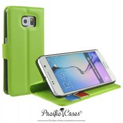 étui pour Samsung S6 vert folio et fonction stand