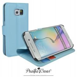 étui pour Samsung S6 Edge ouverture folio et fonction stand par Pacific Cases® - bleu clair