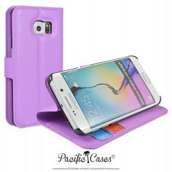 étui pour Samsung S6 Edge ouverture folio et fonction stand par Pacific Cases® - mauve