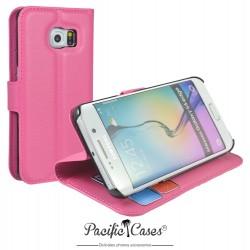 étui pour Samsung S6 Edge ouverture folio et fonction stand par Pacific Cases® - rose fushia