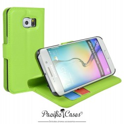 étui pour Samsung S6 Edge ouverture folio et fonction stand par Pacific Cases® - vert