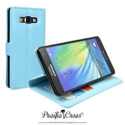 étui pour Samsung A7 ouverture folio et fonction stand par Pacific Cases® - bleu clair