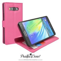 étui pour Samsung A7 ouverture folio et fonction stand par Pacific Cases® - rose fushia