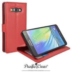 étui pour Samsung A7 ouverture folio et fonction stand par Pacific Cases® - rouge