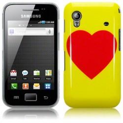 Coque jaune avec cœur rouge pour Samsung Galaxy Ace S5830