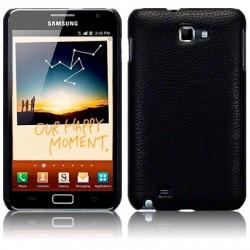 Coque rigide noire imitation cuir pour Samsung Galaxy Note