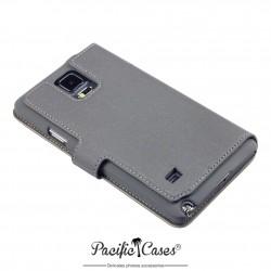 étui pour Samsung Galaxy Note 4 gris ouverture folio fonction stand