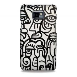 Coque motifs visages art abstrait Samsung Galaxy S2