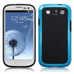 Coque noire et bleu clair façon fibres de carbone pour Samsung S3
