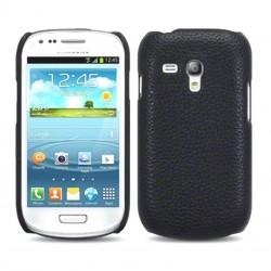 Coque cuir noir imitation pour Samsung S3 mini