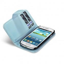 Etui bleu clair ouverture porte-feuille pour Samsung S3 mini