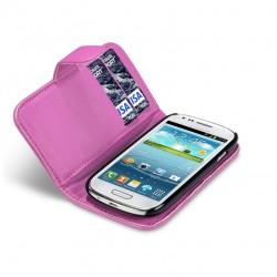Etui rose ouverture porte-feuille pour Samsung S3 mini
