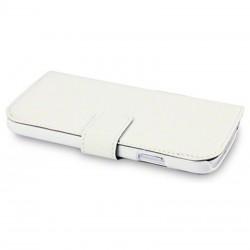 Etui blanc simili cuir ouverture folio pour Samsung S4