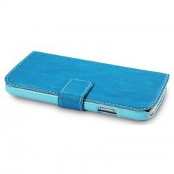 Etui bleu turquoise simili cuir ouverture folio pour Samsung S4