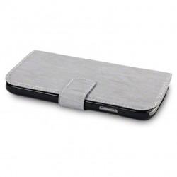 Etui gris simili cuir ouverture folio pour Samsung S4
