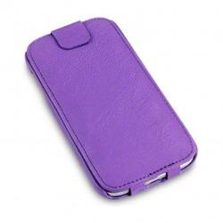 Etui mauve à clapet en cuir simili pour Samsung S4
