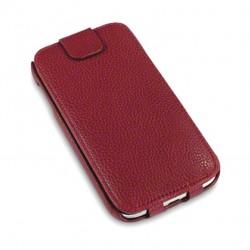Etui rouge à clapet en cuir simili pour Samsung S4
