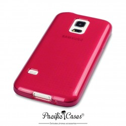 Coque gel pour Samsung S5 mini rouge translucide