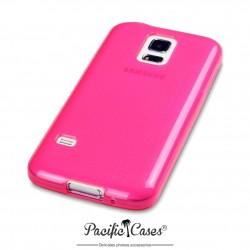 Coque gel pour Samsung S5 mini rose translucide