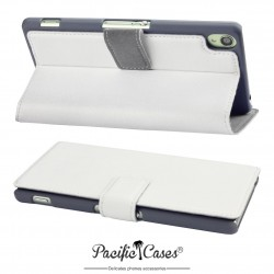 étui pour Sony Xperia Z3 blanc folio fonction stand
