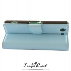 étui bleu clair pour Sony Xperia Z3 Compact ouverture folio et fonction stand par Pacific Cases®