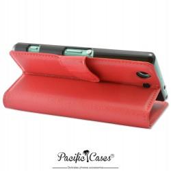 étui rouge pour Sony Xperia Z3 Compact ouverture folio et fonction stand par Pacific Cases®