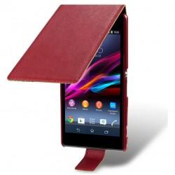 Etui rouge ouverture clapet pour Sony Xperia Z1