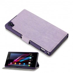 Etui parme fonction stand à ouverture folio pour Sony Xperia Z1