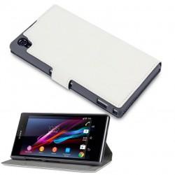 Etui blanc fonction stand à ouverture folio pour Sony Xperia Z1