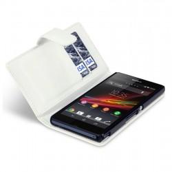 Etui blanc ouverture porte-feuille pour Sony Xperia Z