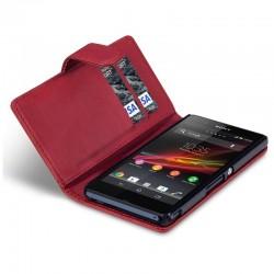 Etui rouge ouverture porte-feuille pour Sony Xperia Z