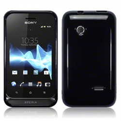 Coque noir brillant souple pour Sony Xperia Tipo