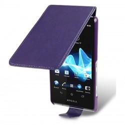 Etui violet à clapet pour Sony Xperia T