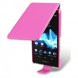 Etui rose ouverture clapet pour Sony Xperia T