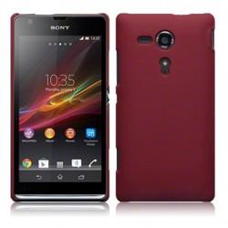 Coque rouge mat rigide touché gomme pour Sony Xperia SP