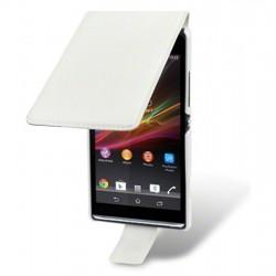 Etui blanc ouverture clapet pour Sony Xperia SP