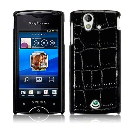 Coque rigide noire façon croco Sony-Ericsson Xperia Ray