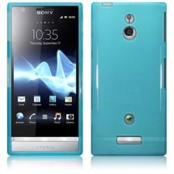 Coque bleu turquoise translucide brillant pour Sony Xperia P