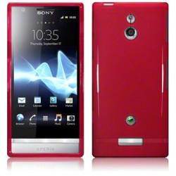 Coque rouge translucide brillant pour Sony Xperia P