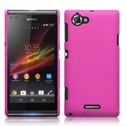 Coque rose rigide touché gomme pour Sony Xperia L