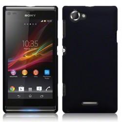 Coque noire mat rigide touché gomme pour Sony Xperia L