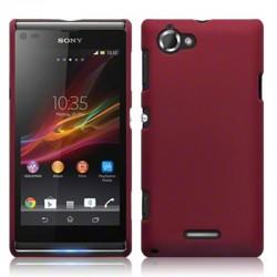 Coque rouge mat rigide touché gomme pour Sony Xperia L