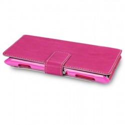 Etui fushia simili cuir ouverture folio pour Sony Xperia L