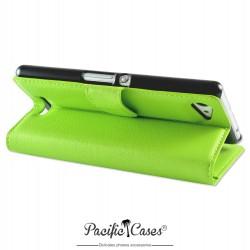 étui vert pour Sony Xperia E3 folio et fonction stand par Pacific Cases®