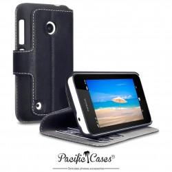 étui pour Nokia Lumia 530 noir folio fonction stand