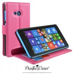étui pour Microsoft Lumia 535 ouverture folio et fonction stand par Pacific Cases® - rose fushia