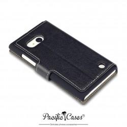 étui pour Nokia Lumia 735 / 730 noir folio fonction stand