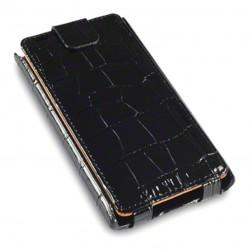 Etui croco noir à ouverture clapet pour Nokia Lumia 900